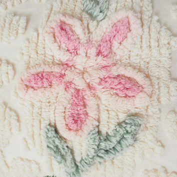 "Vintage Chenille Bedspread Ivory, Pink and Mint Green Floral, Fringed Edges, 96"" x 104"" Full/Queen"