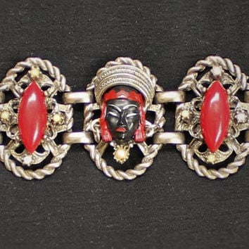 Vintage Selro Selini Nubian Asian Princess Faces Black Red Pearl Panel Bracelet