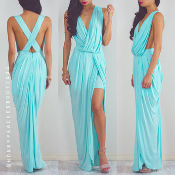 Back In Stock: Timeless Grecian Maxi Dress - Baby Blue