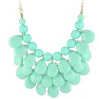 Turquoise 3 row teardrop Statement Jewelry, Chunky Necklace, Bubble Necklace