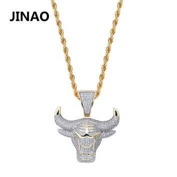 JINAO Fashion Cubic Zircon Iced Out Chain Necklace Bull Demon King Pendant Hip Hop Jewelry Statement Necklace Bling Gift for Man