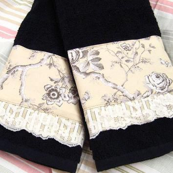 TOILE ROSES - (1 Set) 2-Custom Decorated on Black Hand Towels - Ralph Lauren Fabric