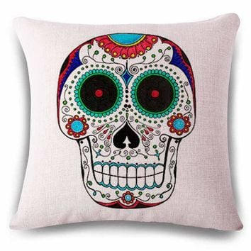 Hand Painted Linens Cotton Halloween Sugar Skull Pillow Cover Vintage Home Decor For Sofa Car Color Cushion Cover Bedding e1262 - Linen Cotton, 45x45cm No6 Cover