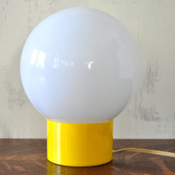 Vintage Globe Desk Light, Mod  Lamp, Mood Lighting, Round Glass Lamp, Yellow Desk Lamp, Bubble Lamp