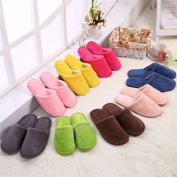 Women Men Winter Warm Slippers Indoor Floor Shoes Non-slip House Shoes Cotton Slippers [8833918732]