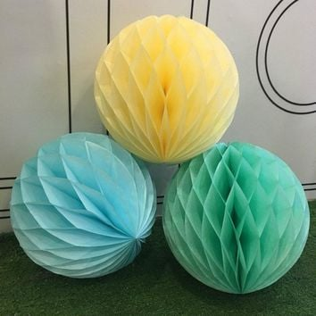 20pcs/Lot 8 '' 20cm Tissue Paper Honeycomb Balls Paper Lantern Party Vintage Wedding Supplies Baby Shower Holiday Supplies
