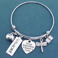 Gilmore girls, The love between Mother & Daughter is Forever, Heart, Dragonfly, Coffee, Cup, Book, Silver, Bangle, Bracelet, GILMORE, Gift