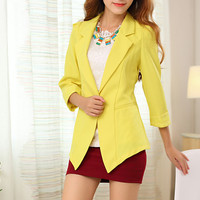 Yellow Single Button Sheer Lace Back Patchwork Slim Lapel Blazer