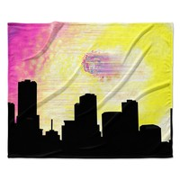 "Infinite Spray Art ""Skylined"" Pink Yellow Fleece Throw Blanket"