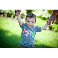 one triblend grey boys 1st Birthday shirt- red chevron, Aqua Pez, green circles Applique one shirt for 1 year old