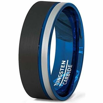 Black Tungsten Wedding Band With White Brushed and Thin Side Blue Groove Flat Edge - 8mm