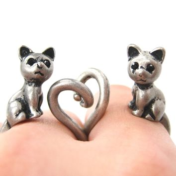Kitty Cat Right Facing Animal Wrap Around Ring in Silver - Sizes 5 to 9 Available