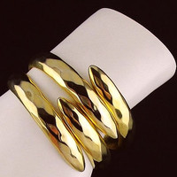 """Gold Wrap Cuff Bracelet Triple Row Hinged Gold Plated Metal Fashion 1.5"""" Vintage"""