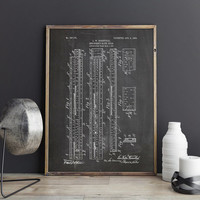 Slipstick, Slide Rule, Slipstick Print, Slide Rule Poster, Engineer Print, Physics Poster, Calculator,Engineer Gift,Patent, INSTANT DOWNLOAD