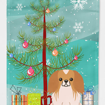 Merry Christmas Tree Pekingnese Red White Flag Garden Size BB4228GF