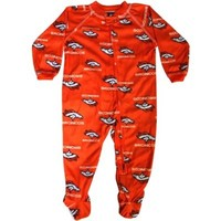 Denver Broncos Sleeper Coverall Orange Logos Infant Baby (0-3 Months)