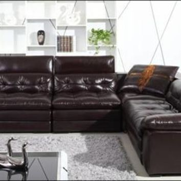 Free Shipping Luxury Italian Top Grain leather, Filled with Feather Down,Large L Shaped Grand Sofa , High Back Home Furniture