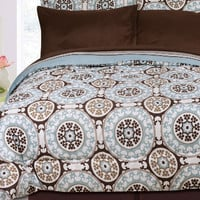 8PC Tippah Blue/ Chocolate/ White Full Reversible Bed Set