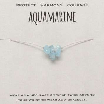Aquamarine Gemstone Chip Necklace Boho Jewelry Protect Harmony Courage Energy Bracelet Gifts for Her Bohemian Dainty Friendship