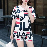 """Fila"" Women Casual Fashion Multicolor Letter Print Short Sleeve Shorts Set Two-Piece Sportswear"
