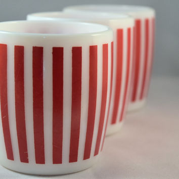 Hazel Atlas-Red Stripe-C-Handle Mug-set of 3