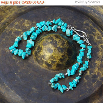 Men's Turquoise Necklace ~ Unisex Necklace ~ Healing Stones ~ Birthday Gift ~ Anniversary Gift  ~ Chip Stones ~  Natural Howlite Stones
