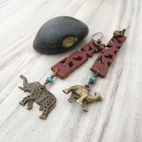 Moroccan Safari Earrings, Leather and Brass Drops with Elephant and Camel, Asymmetrical