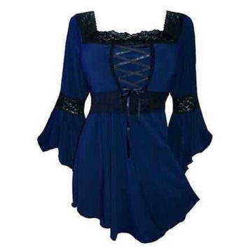 Wholesale Stylish Long Sleeve Lace Spliced Lace-Up Blouse For Women (CADETBLUE,S), Blouses - Rosewholesale.com