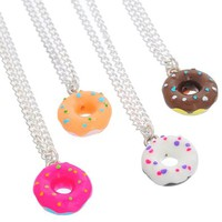MJartoria Best Friends Forever Colorful Doughnut Friendship Necklaces Set of 4