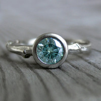 Green Moissanite Twig Engagement Ring in Recycled Gold, 5mm size