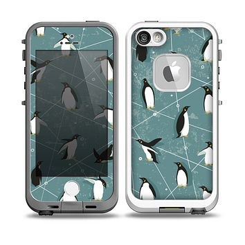 The Vintage Penguin Blue Collage Skin for the iPhone 5-5s fre LifeProof Case