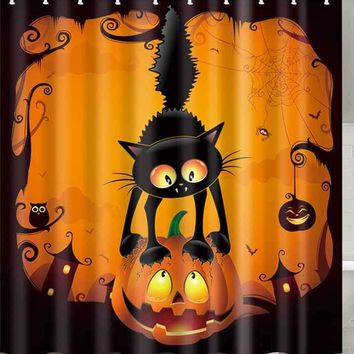 Halloween Pumpkin Cat Print Waterproof Bathroom Shower Curtain