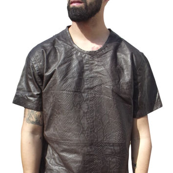 Mens Leather Shirt Snakeskin Python embossed Tee Shirt Black