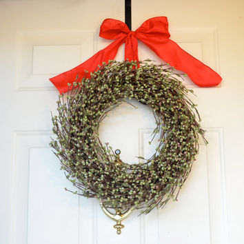 Green Raspberry Wreath - Christmas Wreath - Holiday front Door decor - Sage green raspberries - silver glitter