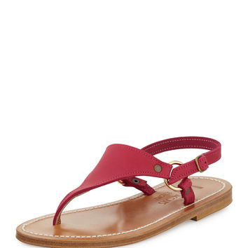 Triton Leather Thong Sandal, Dark Pink - K. Jacques