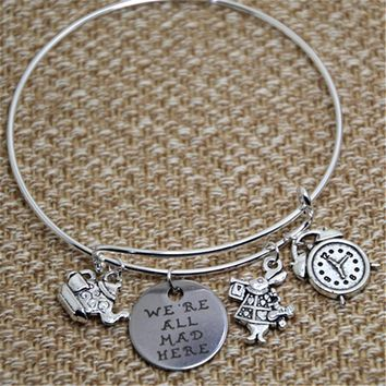 12pcs Alice in wonderland Bracelet with rabbit clock tea kettle and cup and   we are all mad here charms