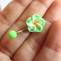 Neon Lime Green Hawaiian Flower Plumeria Belly Button Ring Hawaii Navel Stud Jewelry Bar Barbell Piercing Tropical Hibiscus