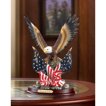 Home Decor-Stars and Stripes Bald Eagle Landing Statue