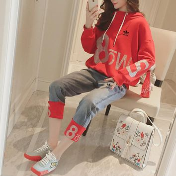 """""""Adidas"""" Women Casual Fashion Numeral Letter Print Hooded Long Sleeve Sweater Jeans Trousers Set Two-Piece"""