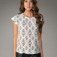 Theory Diamond Ikat Sorcha Printed Silk Top in Black/White