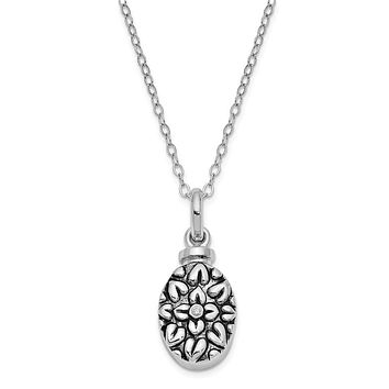 Rhodium Plated Sterling Silver & CZ Flower Ash Holder Necklace, 18in