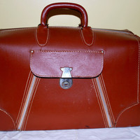 Brown Leather Suitcase , Snatchel Bag , Short Travel Handbag