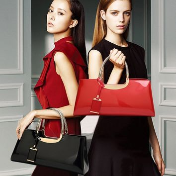 Women Elegant Nobility Style Bright Patent Leather Handbags Trendy Totes Bag Messenger Bag For Shopping Dating Wedding