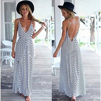 Strapless Sleeveless Strap Stripe Maxi Dress