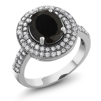 3.70 Ct Oval Black Onyx 925 Sterling Silver Ring
