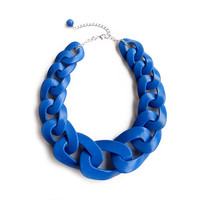 Blue Statement Necklace, Navy Blue Chain Link Necklace, Chunky Necklace