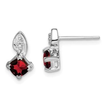 Sterling Silver Diamond Garnet Cushion Square Post Earrings