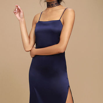 Keeps Gettin' Better Navy Blue Satin Midi Dress