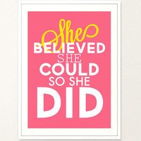 She believed she could so she did Typography Poster Girl Bedroom Quote Women Quote Inspirational Quote  Digital Print Pink Poster colorful