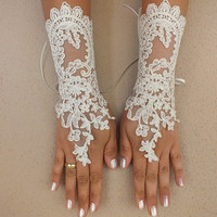 Long Ivory Wedding gloves bridal gloves lace gloves fingerless gloves ivory gloves french lace gloves free ship
